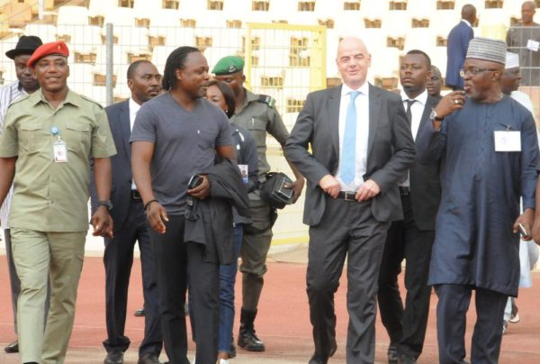 PIC 30. FROM LEFT: MINISTER OF YOUTH AND SPORTS DEVELOPMENT, MR SOLOMON DALUNG; FORMER NIGERIA'S INTERNATIONAL, VICTOR IKPEBA; FIFA PRESIDENT, GIANNI INFANTINO, AND  PRESIDENT OF NIGERIA FOOTBALL FEDERATION, AMAJU PINNICK, AT AN EXHIBITION MATCH FOR THE VISITING  FIFA PRESIDENT INFANTINO, AT THE NATIONAL STADIUM IN ABUJA ON MONDAY (25/7/16).  5322/25/7/2016/TA/NAN