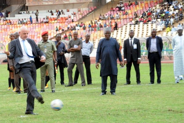 PIC 31. FIFA PRESIDENT, GIANNI INFANTINO, TAKES A KICK-OFF BEFORE AN EXHIBITION MATCH IN HIS HONOUR BETWEEN ABUJA U-13 AND ENUGU U-13 SIDES, AT THE NATIONAL STADIUM IN ABUJA ON MONDAY (25/7/16).  5323/25/7/2016/TA/NAN