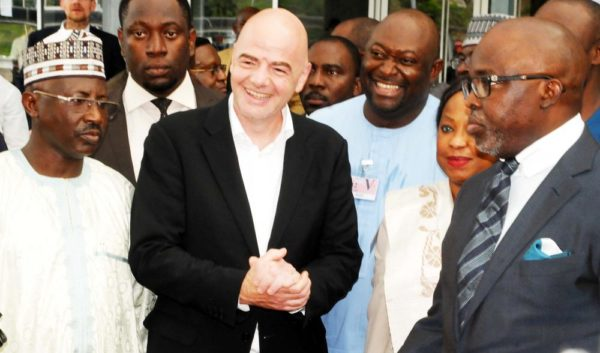 GENERAL SECRETARY, NIGERIA FOOTBALL FEDERATION (NFF), DR MOHAMMED SANUSI (L); FIFA PRESIDENT, GIANNI INFANTINO (2ND-L); NFF PRESIDENT, FIFA SECRETARY-GENERAL, FATMA SAMUORA, AMAJU PINNICK AND OTHER NFF OFFICIALS AT THE NNAMDI AZIKIWE INTTERNATIONAL AIRPORT TO WELCOME THE FIFA PRESIDENT IN ABUJA ON SUNDAY (24/7/16).