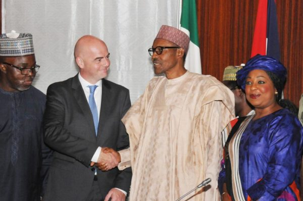 PIC. 19. FROM LEFT: NFF PRESIDENT, AMAJU PINNICK; FIFA PRESIDENT, GIANNI INFANTINO; PRESIDENT MUHAMMADU BUHARI, AND SECRETARY-GENERAL OF FIFA, FATMA SAMOURA, DURING THE FIFA PRESIDENT'S VISIT TO THE PRESIDENTIAL VILLA IN ABUJA ON MONDAY (25/7/16). 5311/25/7/2016/ICE/BJO/NAN