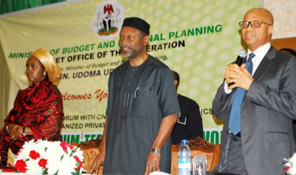 PIC. 9. FROM LEFT: MINISTER OF STATE FOR BUDGET AND NATIONAAL PLANNING, HAJIYA ZAINAB AHMED; MINSTER OF BUDGET AND NATIONAL PLANNING, SEN. UDOMA UDO UDOMA, AND DIRECTOR-GENERAL, BUDGET OFFICE, MR BEN AKABUZE, DURING A PUBLIC CONSULTATIVE FORUM WITH CIVIL SOCIETY ORGANOSATIONS AND ORGANISED PRIVATE SECTOR ON THE 2017-2019 MEDIUM-TERM FISCAL FRAMEWORK, IN ABUJA ON MONDAY (25/7/16). 5301/25/7/2016/HB/BJO/NAN