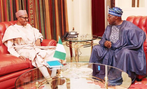 PIC.26. PRESIDENT MUHAMMADU BUHARI (L), IN AUDIENCE WITH FORMER PRESIDENT OLUSEGUN OBASANJO AT THE PRESIDENTIAL VILLA IN  ABUJA ON MONDAY (25/7/16).  5318/5/7/2016/ICE/BJO/NAN