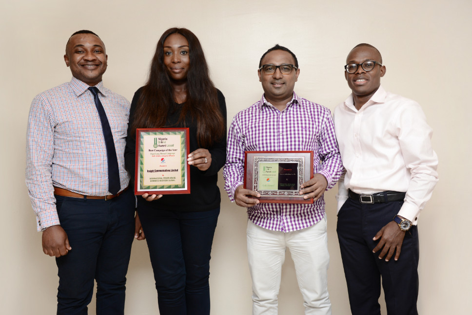 L-R Jones Bassey (Account Director Insight), Sinmisola Hughes-Obisesan (Group Creative Head Insight),Norden Thurston (Head of Marketing Seven-Up Bottling Company), Segun Ogunleye (Brand Manager Seven-Up Bottling Company)