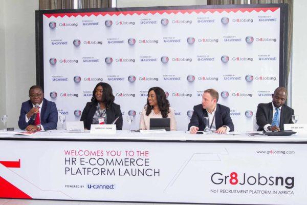 L-R: Ben Afudego (Ernst & Young) , Nneamaka Okorie (Marketing & Sales Manager, Gr8jobsng), Omomene Odike (CEO, U-connect Human Resources Ltd), Robert Giles (Diamond Bank), Ade Ajayi (Microsoft)