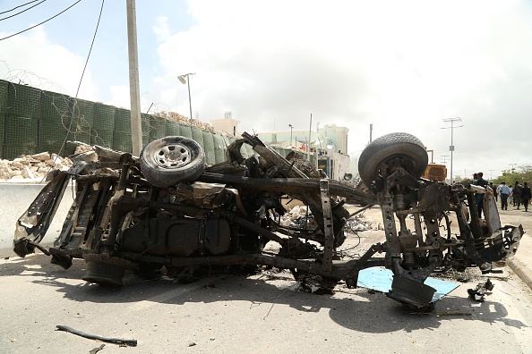 MOGADISHU, SOMALIA - JULY 26: A bomb-laden vehicle is seen after the bomb attack over the United Nations, African Union Mission in Somalia (AMISOM) headquarters in Mogadishu, Somalia on July 26, 2016. It is reported that many people were killed and wounded in the attack.  (Photo by Nour Gelle Gedi/Anadolu Agency/Getty Images)