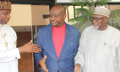 Wike and Amaechi at a peace meeting organised by the Police and DSS