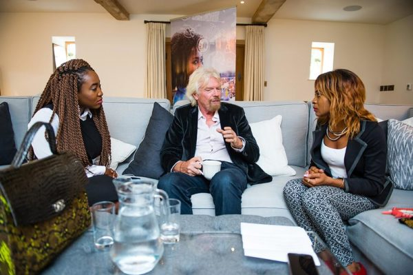 Left to Right: Sophia Ike Onu founder The5kshop, Sir Richard Branson President Virgin Atlantic and Keturah Ovio Onoweya founder Qeturah Dot Com