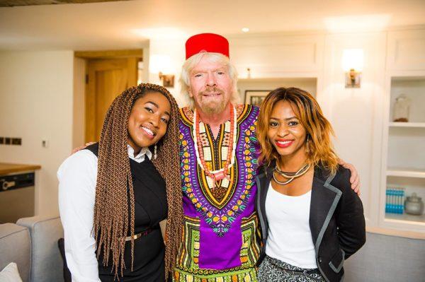 Mentoring Meeting with winners of Enterprise Challenge 2016 Left to Right:. Sophia Ike Onu founder The5kshop , Sir Richard Branson, President Virgin Atlantic and Keturah Ovio Onoweya founder Qeturah Dot Com