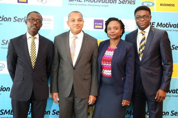 L-R Adekunle Adebiyi, GM, Enterprise Sales - MTN, George Ogbonnaya, Group Head, SME Banking - FCMB, Folake Oyekanmi, Business Development Manager - Intel West Africa and Ezekiel Bamigboye, Senior Manager, SME Sales - MTN Nigeria at the SME Motivation Series held in Port Harcourt last week.