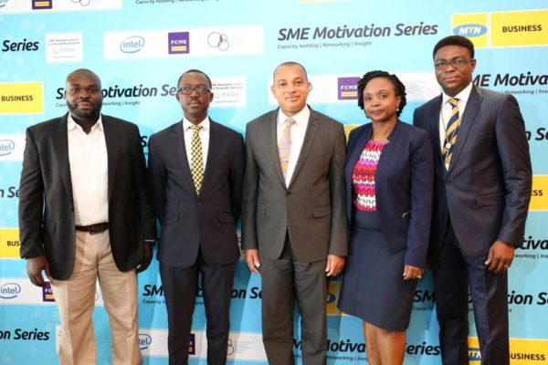 L-R Habeeb Adeleye, ED TricomXPL, Adekunle Adebiyi, GM, Enterprise Sales - MTN, George Ogbonnaya, Group Head, SME Banking - FCMB, Folake Oyekanmi, Business Development Manager - Intel West Africa and Ezekiel Bamigboye, Senior Manager, SME Sales, MTN Nigeria at the SME Motivation Series held at the Hotel Presidential, Port Harcourt last week
