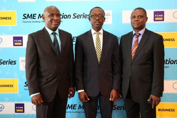 L-R Yinka Fisher, Coordinator SMEDAN, Adekunle Adebiyi, GM, Enterprise Sales MTN and Erasmus Chukunda, DG, Port Harcourt Chamber of Commerce, Industry, Mines and Agriculture at the SME Motivation Series held in Port Harcourt recently.