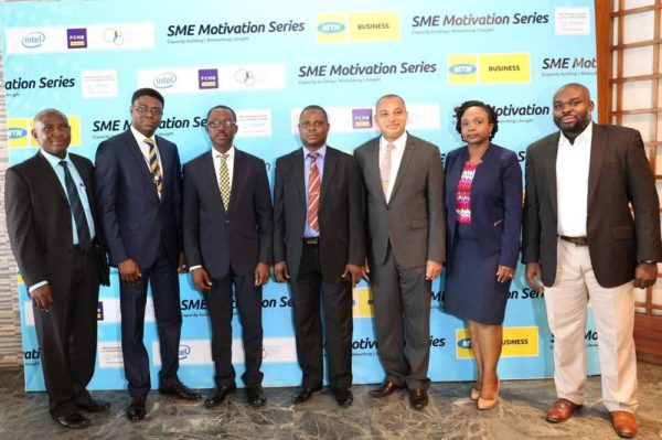 L-R Yinka Fisher, Coordinator SMEDAN, Ezekiel Bamigboye, Senior Manager, SME Sales MTN, Adekunle Adebiyi, GM, Enterprise Sales MTN, Erasmus Chukunda, DG, Port Harcourt Chamber of Commerce, Industry, Mines and Agriculture, George Ogbonnaya, Group Head, SME Banking – FCMB, , Folake Oyekanmi, Business Development Manager, Intel West Africa and Habeeb Adeleye, ED, TricomXPL at the SME Motivation Series held in Port Harcourt recently.