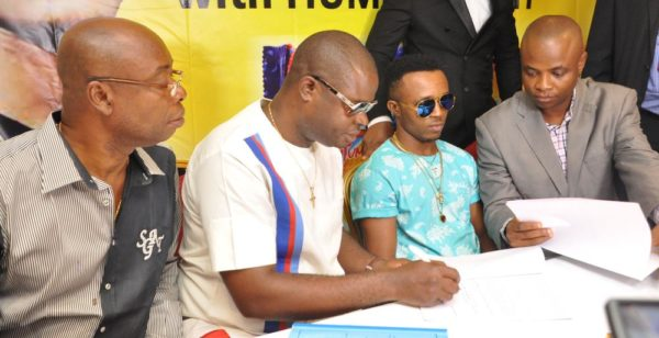Chief Udoka Ejiakor,Marketing Consultant Lagos & Ogun,Tummy Tummy foods industries limited; Chief Ogo Emenike,Managing Director,Tummy Tummy Foods Industries Limited;Ijemba Ekenedilichukwu[Humblesmith]Brand Ambassador and Mr. Chijioke Anumoka,General Manager,Tummy Tummy Foods Industries Limited.At the Unveiling of Humble smith as Brand Ambassador of Tummy Tummy Foods Industries Limited in Lagos yesterday