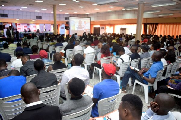 A cross section of the audience showing engrossed youths as they listen intently to the speakers during the #IYD2016NG event.