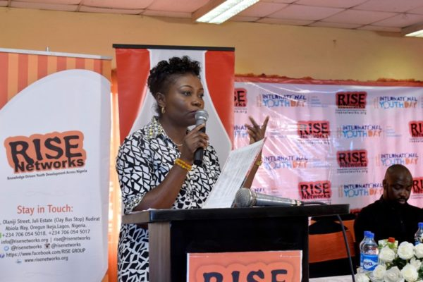 Joy Isi Bewaji, Feminist Writer, delivering her speech at the #IYD2016NG event as she expressed her concerns that the older generation is stealing everything and leaving the youths with nothing.