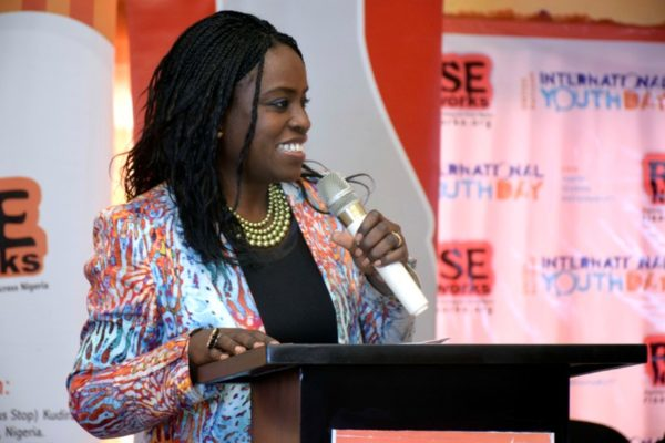 Sade Morgan, the Legal, Public Affairs and Communications Director of the Nigerian Bottling Company delivering a brand talk during the #IYD2016NG event.