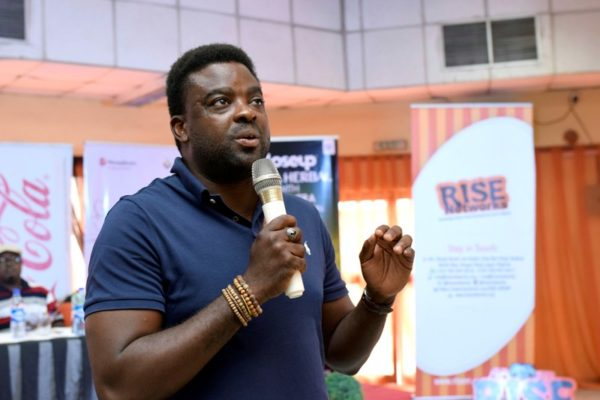 Prominent Nigerian filmmaker, Kunle Afolayan discussing the opportunities present in Nollywood for Nigerian youths at the #IYD2016NG.