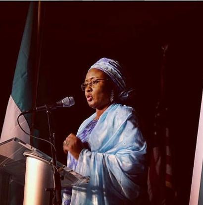 Aisha Buhari delivering a speech at an event at George Mason University