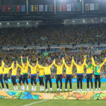 RIO DE JANEIRO, BRAZIL - AUGUST 20:  Players of Brazil celebrate on the podium after the Men's Football Final between Brazil and Germany at the Maracana Stadium on Day 15 of the Rio 2016 Olympic Games on August 20, 2016 in Rio de Janeiro, Brazil. (Photo by Laurence Griffiths/Getty Images)