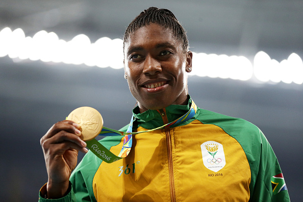 RIO DE JANEIRO, BRAZIL - AUGUST 20: Gold medalist Caster Semenya of South Africa stands on the podium during the medal ceremony for the Women's 800 meter on Day 15 of the Rio 2016 Olympic Games at the Olympic Stadium on August 20, 2016 in Rio de Janeiro, Brazil. (Photo by Patrick Smith/Getty Images)