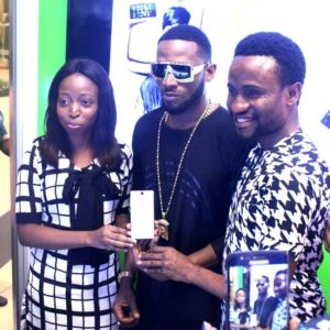 Infinix hot s launch with Slot & Dbanj - Left (Olamide Amosu Marketing communications manager Infinix, Dbanj 'Slots brand ambassador' & Head of operations of Slot Limited Emmanuel Nwachukwu