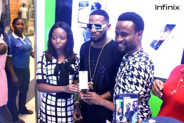 Infinix hot s launch with Slot & Dbanj - Left (Olamide Amosu Marketing communications manager Infinix, Dbanj 'Slots brand ambassador' & Head of operations of Slot Limited Emmanuel Nwachukwu