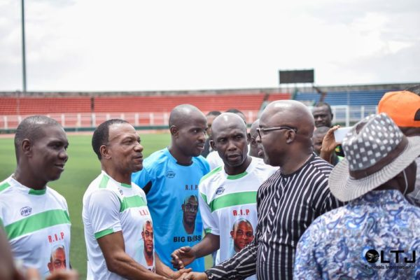Day 1 Z - Amaju Pinnick, NFF President being introduced to the players by Mr Frank Ilaboya, Chairman of the Edo State Football Association