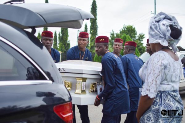 Day 2 1 - Casket eing placed in the car, St. Luke's Mortuary, Asaba, Delta State