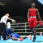 Efe Ajagba of Nigeria knocks out Nigel Paul of Trinidad and Tobago in the Men's Super Heavyweight (+91g) preliminaries on Day 8 of the 2016 Rio Olympics at Riocentro - Pavilion 6 on August 13, 2016 in Rio de Janeiro, Brazil. (Photo by Alex Livesey/Getty Images)