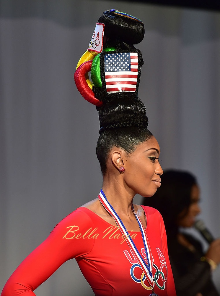 ATLANTA, GEORGIA - FEBRUARY 21:  A model showcases a unique hairstyle at Bronner Brothers International Beauty Show Fantasy Competition at Georgia World Congress Center on February 21, 2016 in Atlanta, Georgia.  (Photo by Paras Griffin/Getty Images)