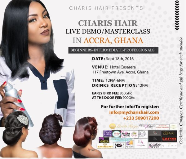 Ghana masterclass with 3 hair pic and logo V2_8_2016_Charis Hair Live demo Accra bellanaija