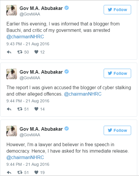 Governor Mohammed Abubakar's Response on Musa Azare Arrest