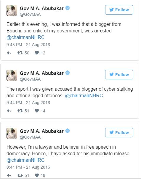 Governor Mohammed Abubakar's Response on Musa Azare Arrest