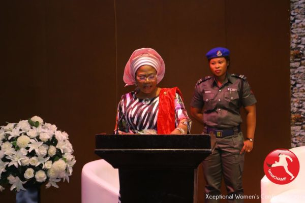 Her Excellency, The Deputy Governor of State of Osun, Otunba Grace Laoye-Tomori delivering a Keynote Address @ The XWomen's Conference