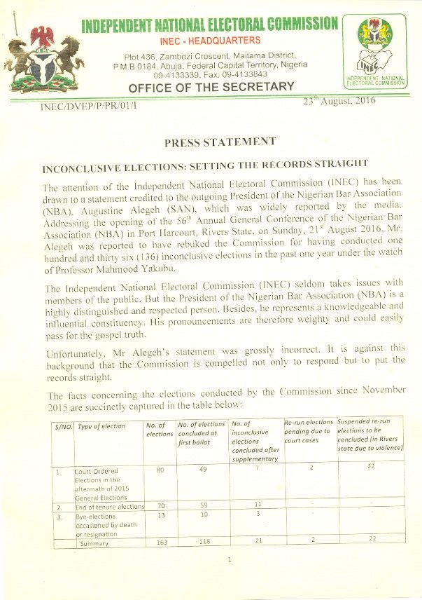 INEC statement on inconclusive elections1