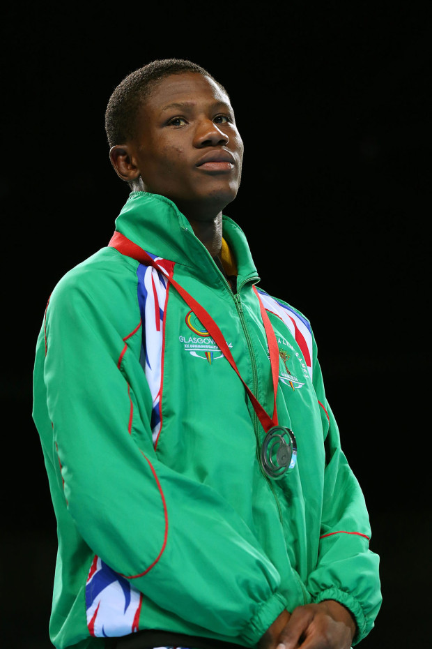 GLASGOW, SCOTLAND - AUGUST 02:  Silver medalist Junias Jonas of Namibia poses during the medal ceremony for the Men's Light Welter (64kg) Final at SSE Hydro during day ten of the Glasgow 2014 Commonwealth Games on August 2, 2014 in Glasgow, Scotland.  (Photo by Alex Livesey/Getty Images)