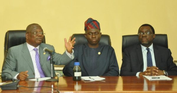 Commissioner for Works & Infrastructure, Engr. Ganiyu Johnson; Commissioner for Energy & Mineral Resources, Mr. Wale Oluwo and Commissioner for Information & Strategy, Mr. Steve Ayorinde during a joint Press Conference on plans of the Lagos State Government to embark on Multifaceted Projects (Construction of a Fly-over at Pen Cinema, Agege; Installation of 13, 000 CCTV Cameras and Removal of three Roundabouts along the Lekki-Epe Expressway) in the State, at the Bagauda Kaltho Press Centre, the Secretariat, Alausa, Ikeja, on Wednesday, August 17, 2016.