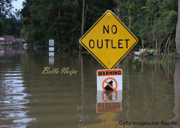 BATON ROUGE, LA - AUGUST 15: A sign is seen along a flooded road on August 15, 2016 in Baton Rouge, Louisiana. Record-breaking rains pelted Louisiana over the weekend leaving the city with historic levels of flooding that have caused at least seven deaths and damaged thousands of homes. (Photo by Joe Raedle/Getty Images)