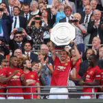 LONDON, ENGLAND - AUGUST 07:  Zlatan Ibrahimovic of Manchester United lifts the Community Shield trophy after the FA Community Shield match between Leicester City and Manchester United at Wembley Stadium on August 7, 2016 in London, England.  (Photo by Matthew Peters/Man Utd via Getty Images)