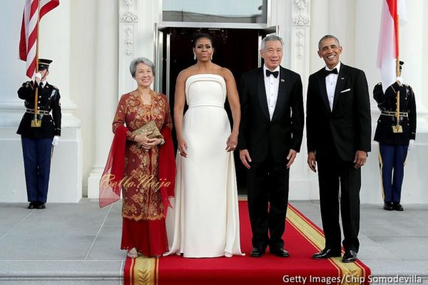 Ho Ching, first lady Michelle Obama, Prime Minister Lee Hsien Loong of Singapore and U.S. President Barack Obama pose for photographs in the North Portico of the White House August 2, 2016 in Washington, DC. The Obamas are hosting the prime minister and his wife for an official state dinner.