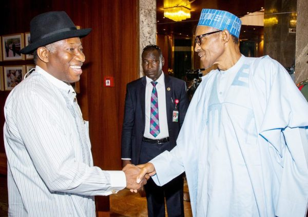 PIC 24.  FORMER  PRESIDENT  GOODLUCK  JONATHAN  VISITS PRESIDENT BUHARI AT THE PRESIDENTIAL VILLA  IN  ABUJA  PIC 24. PRESIDENT MUHAMMADU BUHARI (R) WELCOMING FORMER PRESIDENT GOODLUCK JONATHAN  TO THE  PRESIDENTIAL VILLA ABUJA ON WEDNESDAY  (3/8/16). 5466/03/08/2016/ICE//NAN