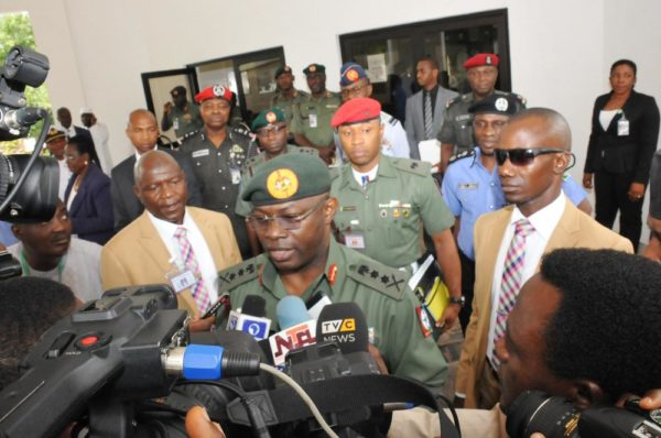 PIC. 10. CHIEF OF DEFENCE STAFF, GEN. GABRIEL OLONISAKIN ADDRESSING STATE HOUSE CORRESPONDENTS AFTER A SECURITY MEETING AT THE PRESIDENTIAL VILLA IN ABUJA ON MONDAY (15/8/16). 5702/15/8/2016/ICE/BJO/BJO/NAN