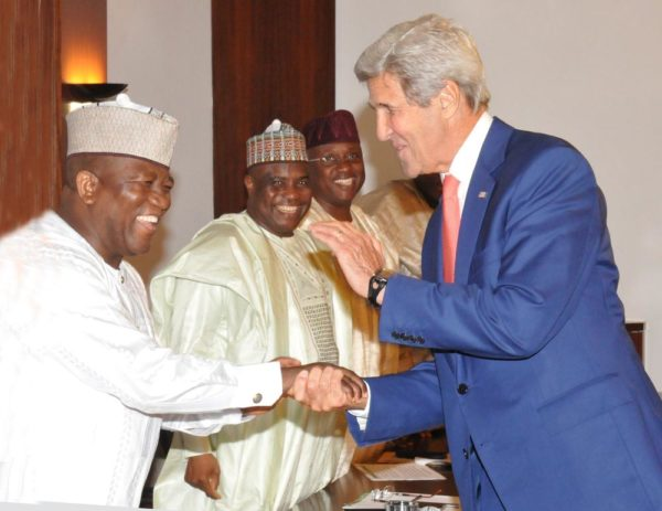 PIC. 33. FROM LEFT: GOVERNORS ABDULAZIZ YARI OF ZAMFARA; AMINU TAMBWAL OF SOKOTO AND  MOHAMMED JIBRILLA OF ADAMAWA STATE WELCOMING THE VISITING U. S. SECRETARY OF STATE, MR  JOHN KERRY TO A MEETING WITH NORTHERN STATE GOVERNORS AT THE PRESIDENTIAL VILLA IN ABUJA  ON TUESDAY (23/8/16). 5925/23/8/2016/ICE/BJO/NAN