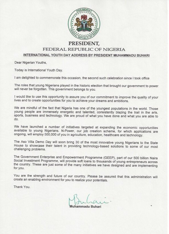 President Buhari Letter to Youths