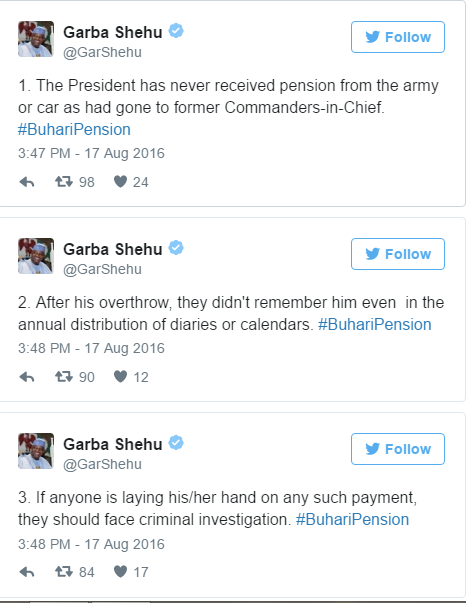 President Buhari never recieved Pension or Car from Army