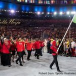 Team Kenya archer and national flag bearer Shehzana Anwar leads team during Parade of Nations at Maracana Stadium. Rio de Janeiro, Brazil 8/5/2016 CREDIT: Robert Beck (Photo by Robert Beck /Sports Illustrated/Getty Images)