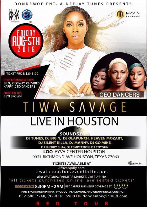 Tiwa Savge in Houston