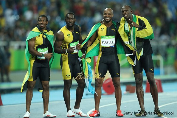 RIO DE JANEIRO, BRAZIL - AUGUST 19: Usain Bolt of Jamaica celebrates with teammates Asafa Powell, Yohan Blake and Nickel Ashmeade after winning the Men's 4 x 100m Relay Final on Day 14 of the Rio 2016 Olympic Games at the Olympic Stadium on August 19, 2016 in Rio de Janeiro, Brazil. (Photo by Ian MacNicol/Getty Images)
