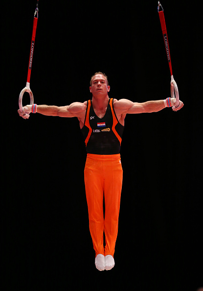 GLASGOW, SCOTLAND - OCTOBER 22:  Yuri van Gelder of the Netherlands goes through his routine on the Rings during the 2015 World Artistic Gymnastics Championships Training Session at The SSE Hydro on October 22, 2015 in Glasgow, Scotland. (Photo by Ian MacNicol/Getty images)