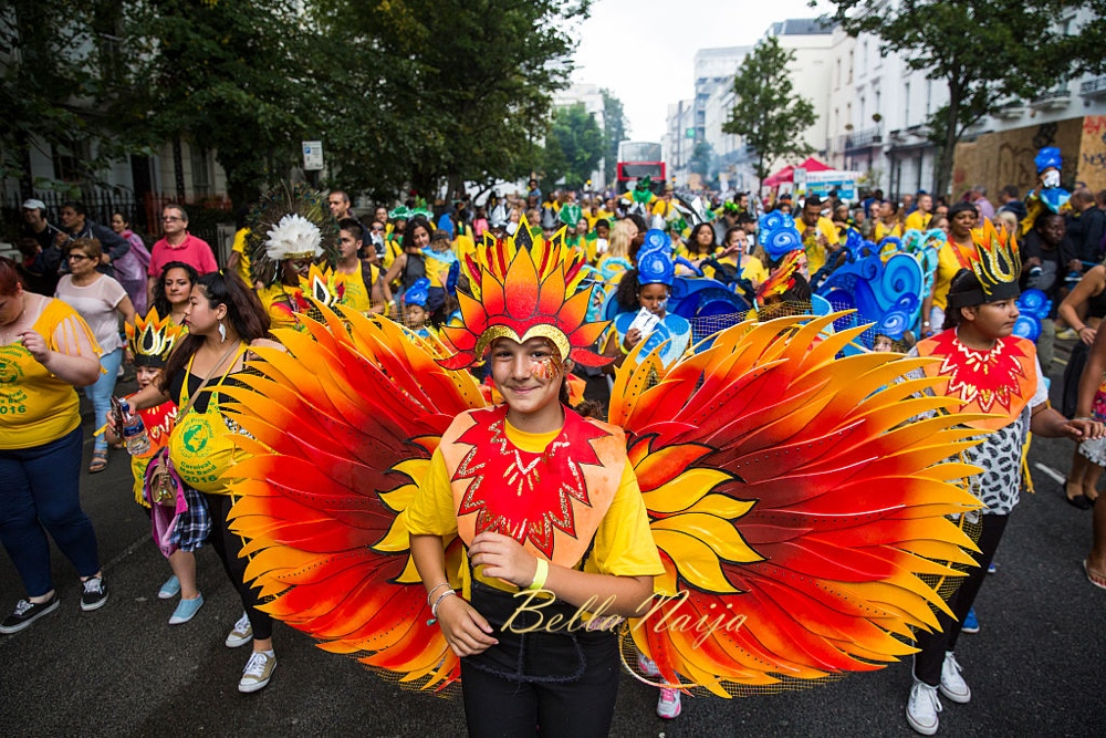 LONDON, ENGLAND - AUGUST 28: Performers take part in the Notting Hill Carnival on August 28, 2016 in London, England. The Notting Hill Carnival, which has taken place annually since 1964, is expected to attract over a million people. The two-day event, started by members of the Afro-Caribbean community, sees costumed performers take to the streets in a parade and dozens of sound systems set up around the Notting Hill streets. (Photo by Jack Taylor/Getty Images)